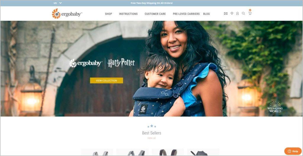 screenshot of Ergobaby web page