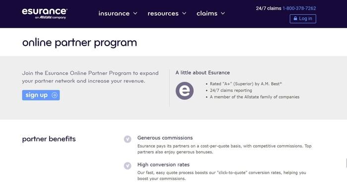 screenshot of the affiliate sign up page for Esurance