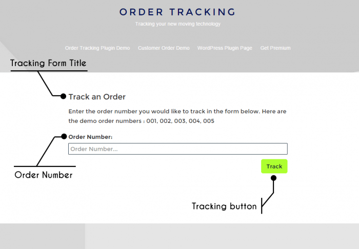 The order tracking page with a field in the middle for the order number and track button below it.