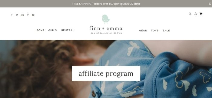 screenshot of the affiliate sign up page for Finn & Emma