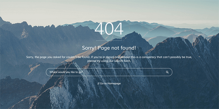 A 404 error page with a full-screen background image of mountains and a 404 error text on top of it. There is also a search bar and a homepage link.