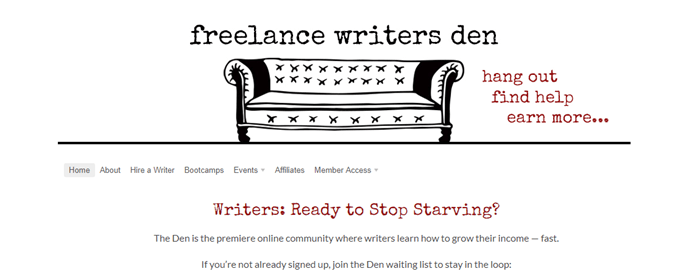 Freelance Writers Den website screenshot showing a simple black and white image of a sofa with the words freelance writers den and text about what the den offers.