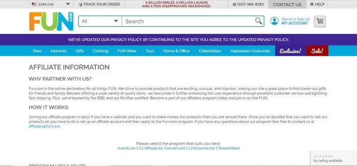 screenshot of the affiliate sign up page for Fun.com