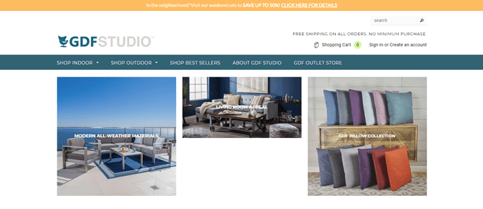 GDF Studio website screenshot showing outdoor furniture, a lounge suite and a set of cushions.