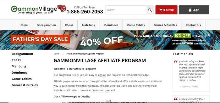 screenshot of the affiliate sign up page for GammonVillage