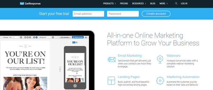 GetResponse website screenshot showing details about their all-in-one online platform, along with an example of their email builder.