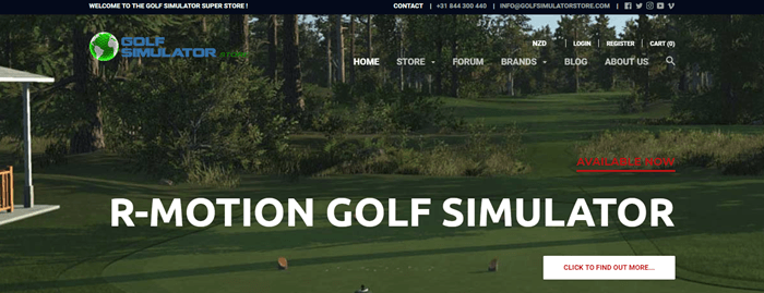 Golf Simulator Store website screenshot showing an image of a golf course with trees and a green.