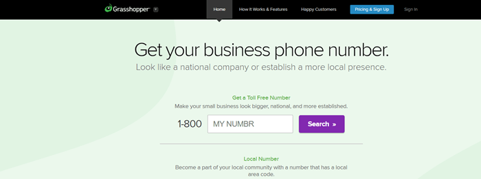 Grasshopper website screenshot showing information about getting a business phone number.