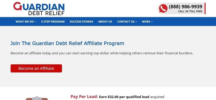 screenshot of the affiliate sign up page for Guardian Debt Relief