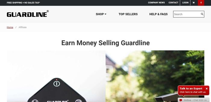screenshot of the affiliate sign up page for Guardline Security
