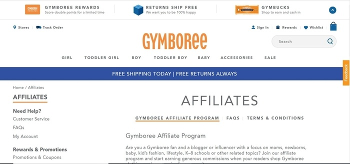 screenshot of the affiliate sign up page for Gymboree