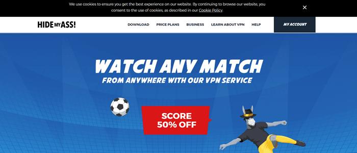 Hide My Ass Website Screenshot showing a cartoon image of a donkey as a goalie.