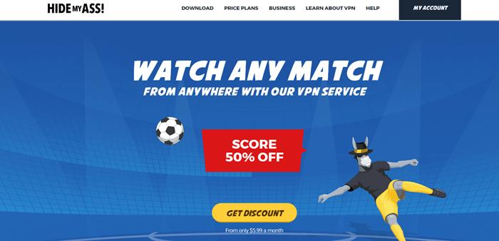 Hide My Ass website screenshot showing a cartoon donkey acting as a goalie.