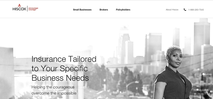 screenshot of the affiliate sign up page for Hiscox Small Business Insurance