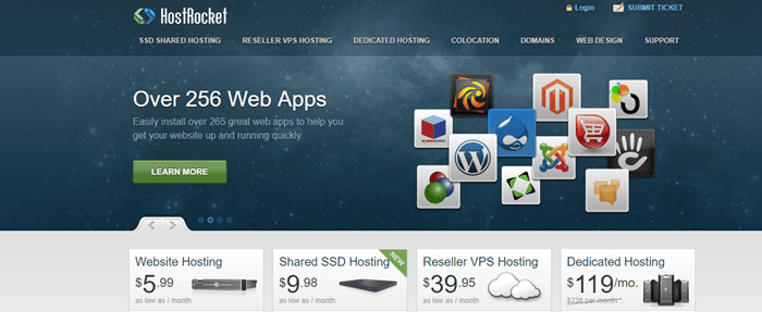 HostRocket website screenshot showing a background image of stars with icons to different web apps.