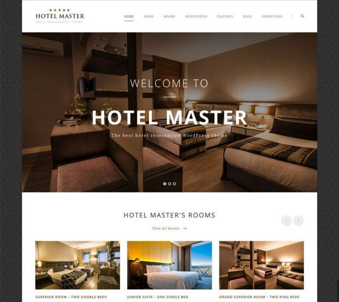 The Hotel Master homepage showing the logo at the top left and a navigation menu next to it. Below that is a background image with a welcome text on top of it. At the bottom is a grid display of different rooms.