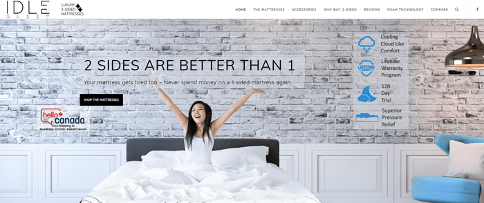 IDLE Sleep website screenshot showing an image of a woman in a brightly-lit apartment waking up and stretching.