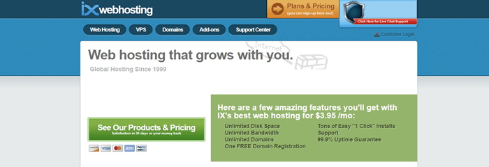 IX Web Hosting website screenshot showing details about how the web hosting grows with the user.