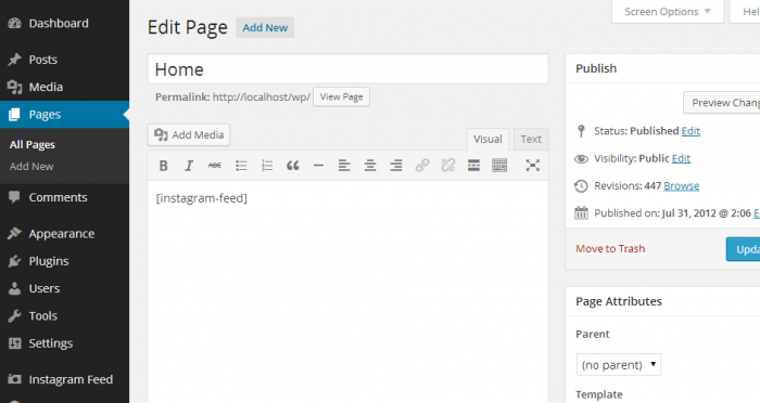 """The admin panel showing the """"Instagram Feed"""" shortcode typed inside the WordPress text editor."""