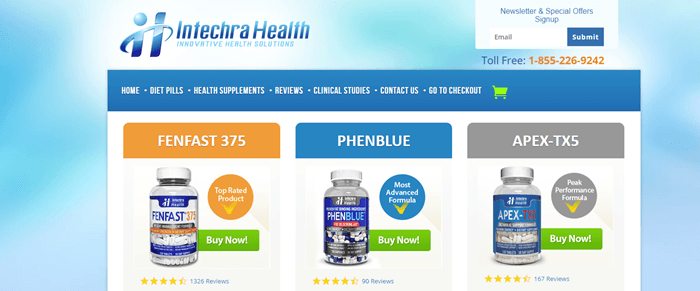 Intechra Health website screenshot showing three different bottles of supplements from the company.