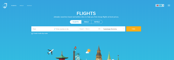 JetRadar website screenshot showing a blue background with the ability to search for flights.