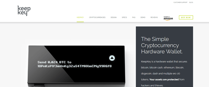 KeepKey website screenshot showing an image of the KeepKey device with details about cryptocurrency hardware and what the wallet offers.