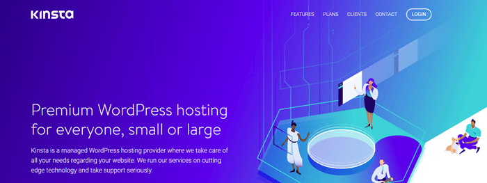 Kinsta website screenshot showing a stylized image of a laboratory-like environment. Blue text talks about premium WordPress hosting.