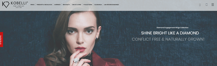Kobelli website screenshot showing a young brown-haired woman looking at the camera and wearing a ring.