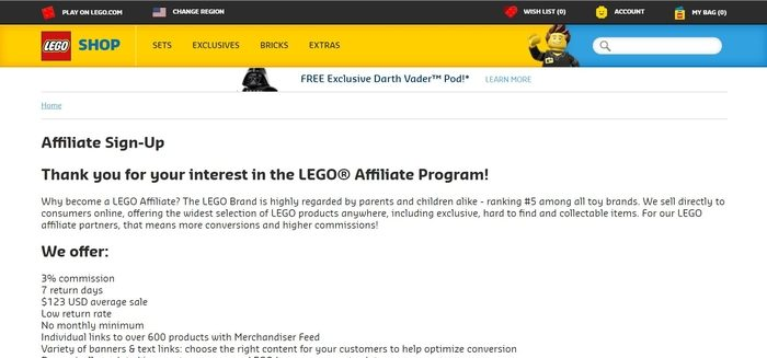 screenshot of the affiliate sign up page for LEGO