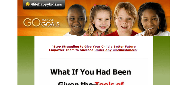 Law of Attraction for Kids website screenshot shows four kids grinning at the camera.