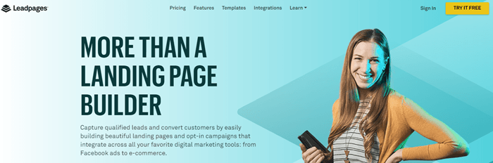 Leadpages website screenshot showing a young smiling woman against a blue background.
