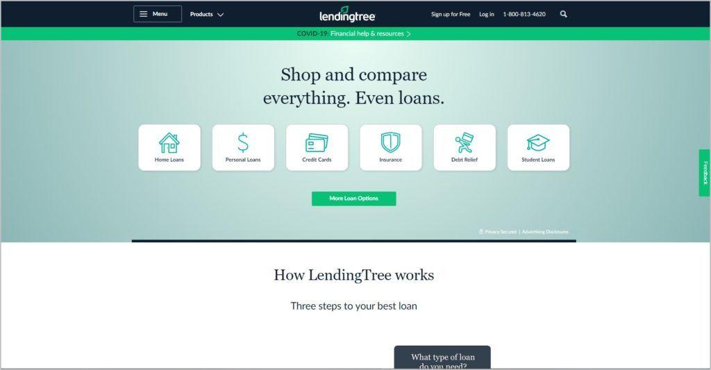 screenshot of LendingTree homepage