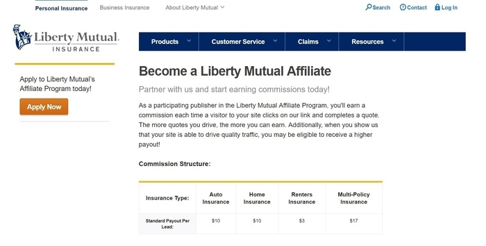 screenshot of the affiliate sign up page for Liberty Mutual