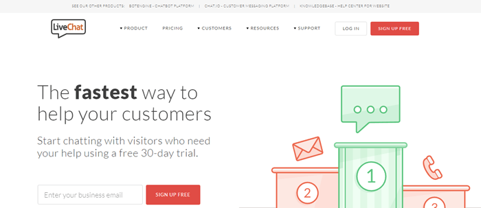 LiveChat website screenshot showing a rewards platform with positions 1, 2 and 3. Text talks about the fastest way to help customers.