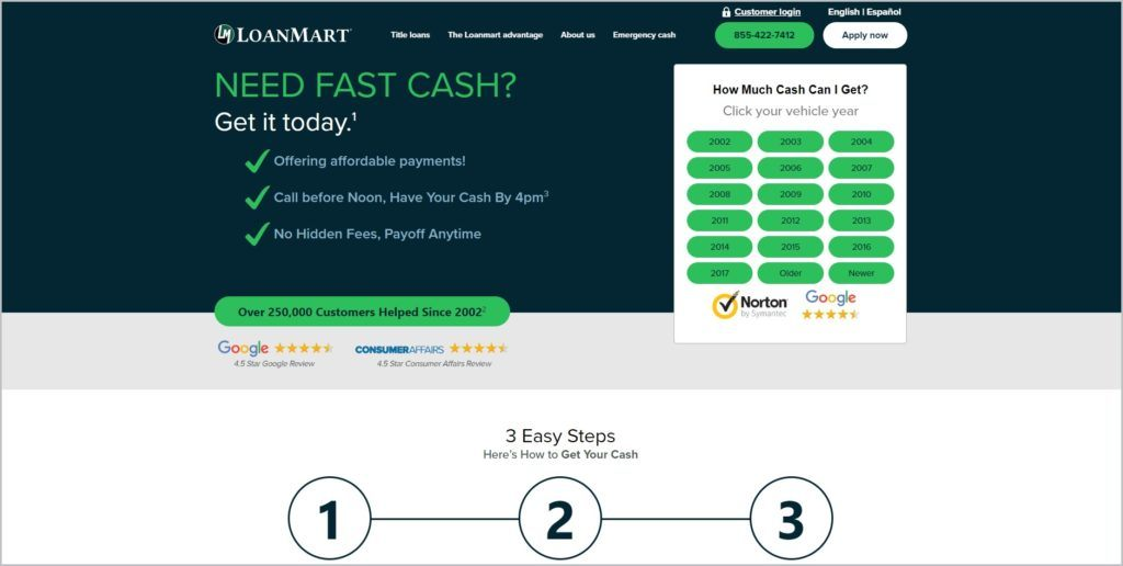 screenshot of LoanMart web page