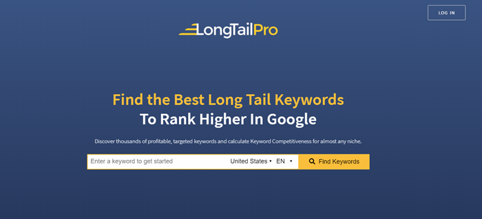 LongTail Pro website screenshot showing a search bar to find keywords, a blue background and text talking about what LTP offers.