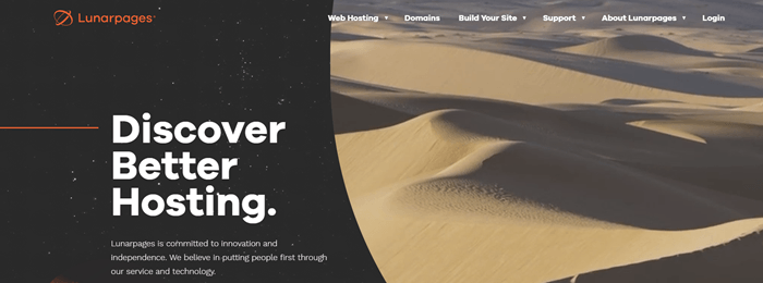 Lunarpages website screenshot showing a large image of sand dunes with shadows.