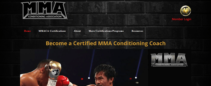 MMA Conditioning Association website screenshot showing part of an image of a boxing fight, along with various menu links and the MMA logo twice.