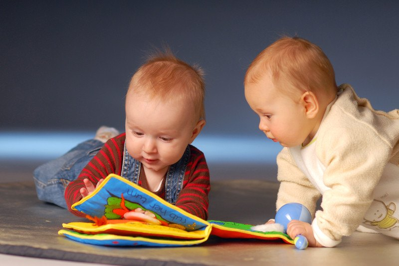 Two babies looking at a baby picture book.