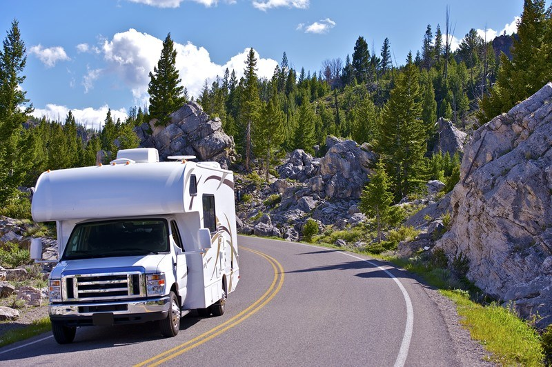 Yellowstone National Park with an RV driving along the road