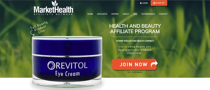 Market Health website screenshot showing a blurry background of grass and a product called Revitol Eye Cream.