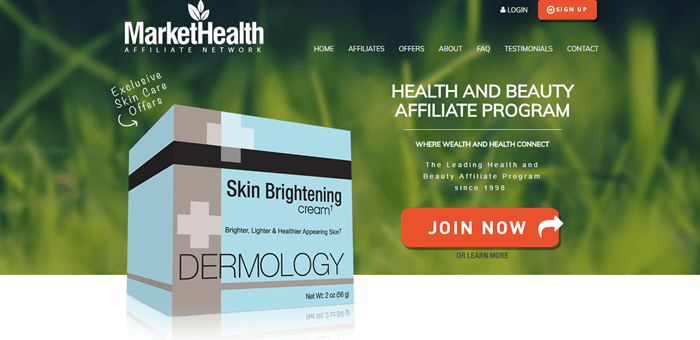 Market Health website screenshot showing a background image of grass with a stylized skin brightening cream in front of it.