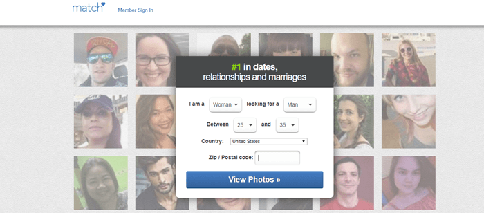 Match.com website screenshot showing background images of many men and women.