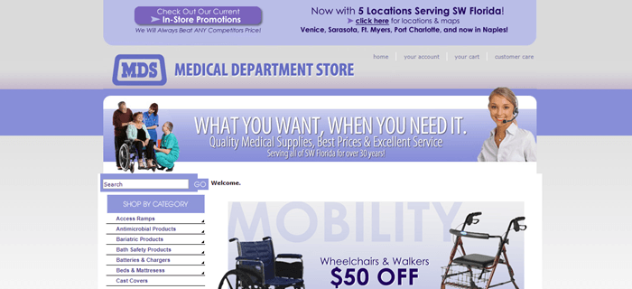 Medical Department Store website screenshot showing some small images of products, along with various menu links.