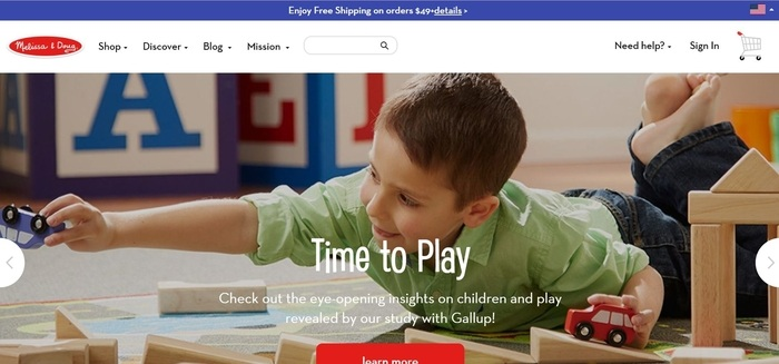 screenshot of the affiliate sign up page for Melissa and Doug