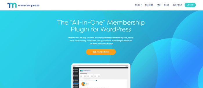 MemberPress website screenshot showing a light blue background with a tablet that shows how the plugin works.