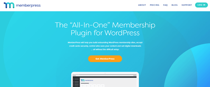 MemberPress website screenshot showing details about the all-in-one membership plugin.