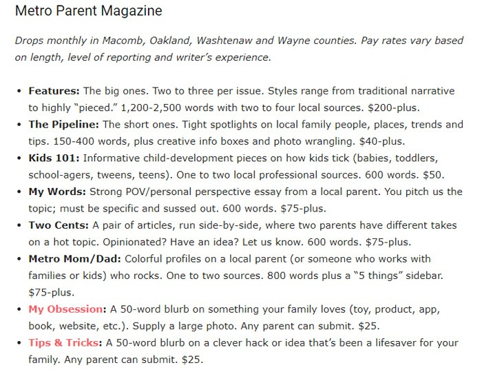 MetroParent Writer Guidelines