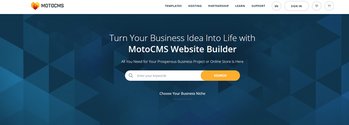 MotoCMS website screenshot showing a geometric blue background image with text about the MotoCMS website builder.