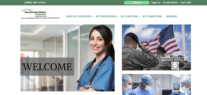 Mountainside Medical Equipment website screenshot showing a nurse in a hospital, some soldiers saluting a slide and surgeons in an operating room.